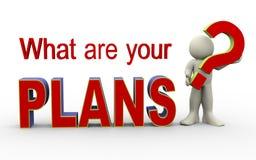 3d人-什么是您的计划 免版税库存照片