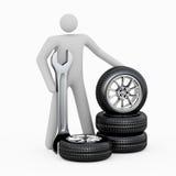 3D人&轮胎 图库摄影