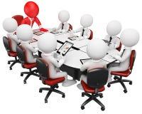 3D企业白色人。 业务会议 库存图片