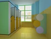 3d儿童公共s洗手间 免版税库存图片