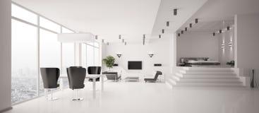 3d公寓内部全景白色 免版税图库摄影