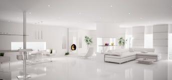3d公寓内部全景白色 免版税库存图片