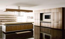 3d内部厨房回报 向量例证