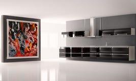3d内部厨房 库存例证