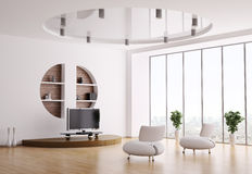 3d内部客厅 免版税图库摄影