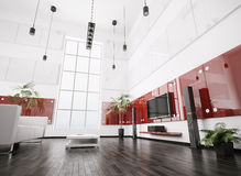 3d内部居住的现代空间 向量例证