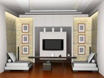 3d内部居住的现代空间 库存例证