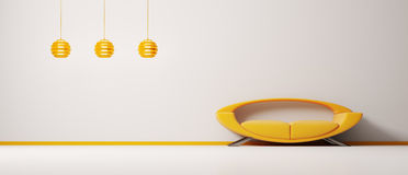 3d内部橙色沙发 库存照片