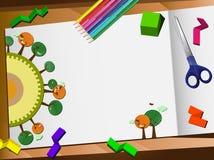 3d剪切桌面生态纸张 库存照片