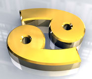 3d占星术癌症金子符号 向量例证