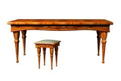 3d古色古香的凳子表 向量例证