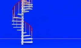 3D回报了与台阶的空的蓝色墙壁 库存图片