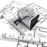 3d图纸房子查出现代白色 皇族释放例证