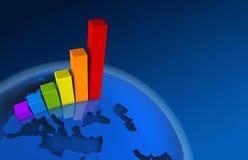 3d图表欧洲增长世界 免版税库存照片