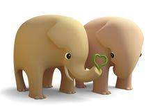 3D在爱的大象夫妇 免版税库存图片
