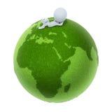 3d地球小绿色的人 免版税库存照片