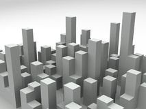 3d城市地平线 免版税库存图片