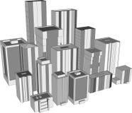 3d城市摩天大楼 皇族释放例证