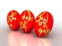 3d复活节彩蛋金黄装饰品红色 免版税库存照片