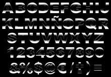3d字母表发光查出的金属 免版税库存照片