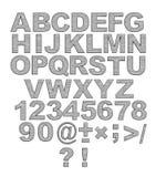 3d字母表在金属铆钉上写字 免版税库存照片