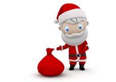 3d字符圣诞老人社交 免版税库存图片