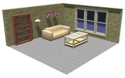3d家具空间 向量例证