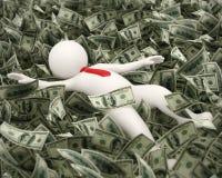 3d富有的商人游泳在货币海洋 免版税库存图片