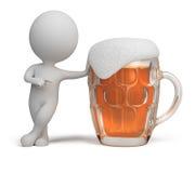 3d小啤酒的人 免版税库存照片