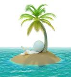 3d小海岛的人 免版税库存照片