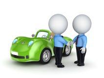 3d小的人员和绿色汽车。 免版税库存照片
