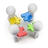 3d小的人员-合作与难题 免版税库存图片