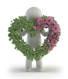 3d小的人员-爱形状的罗斯 免版税图库摄影