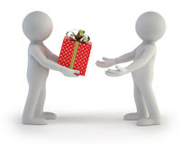 3d小的人员-礼物盒 库存图片