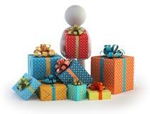3d小的人员-许多礼物盒 库存照片