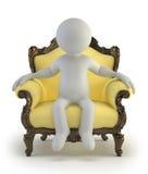 3d小的人员-豪华扶手椅子 库存照片