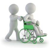 3d小的人员-轮椅 免版税图库摄影