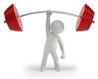 3d小的人员-运动员增强的重量 图库摄影