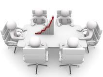 3D开的人坐在表和业务会议 免版税图库摄影