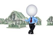 3d房子使货币人员小 向量例证