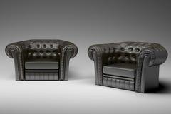 3d扶手椅子黑色皮革 免版税库存照片