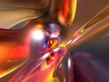 3d抽象五颜六色的光滑的红色发光的黄色 免版税库存照片