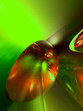3d抽象五颜六色的光滑的绿色红色使发 免版税库存图片