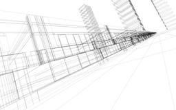 3d抽象建筑 库存例证