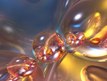 3d抽象泡影五颜六色光滑发光 库存图片