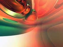 3d抽象背景绿色橙色发光 库存照片