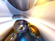 3d抽象蓝色五颜六色的光滑的发光的白 免版税库存图片