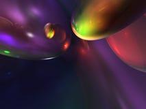 3d抽象颜色光滑的绿色紫色发光的黄色 免版税库存图片
