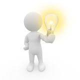 3d拿着人力光的电灯泡 库存照片