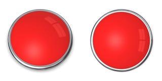 3d按钮浅红色的固体 免版税库存照片